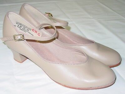 Womens Character Dance Shoes Size 9 M Nude Leather Sole Mary Jane