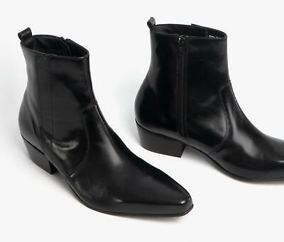 Club Cubano OLIVIER Mens Real Leather Zip Pointed Winklepicker Ankle Boots Black