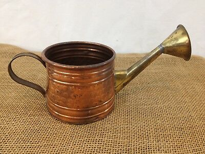 Vtg Hand Made Hammered Copper Brass Indoor Garden Watering Can
