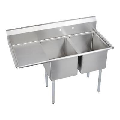 Elkay - E2C24X24-L-24X - 76 1/2 in Two Compartment Sink w/ Left Drainboard
