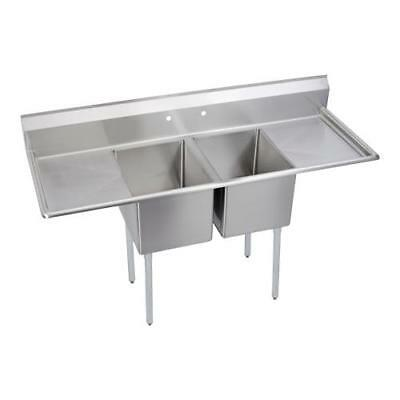 Elkay - 14-2C18X24-2-18X - 74 in Two Compartment Sink w/ Two Drainboards