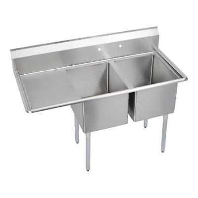 Elkay - 14-2C18X24-L-18X - 58 1/2 in Two Compartment Sink w/ Left Drainboard