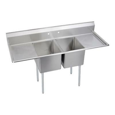 Elkay - E2C24X24-2-24X - 98 in Two Compartment Sink w/ Two Drainboards