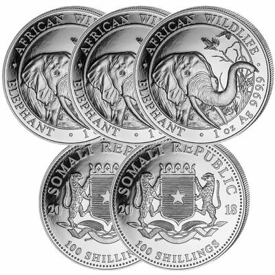 2018 Elephant 1 oz Coin | Lot of 5 Direct From Somalian Mint Tube