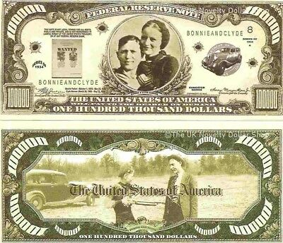 Bonnie and Clyde Barrow Gangsters Wanted $100,000 Dollar Bills x 4 United States