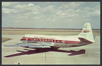 TCA Viscount Airplane Trans Canada Airlines Windsor Postcard