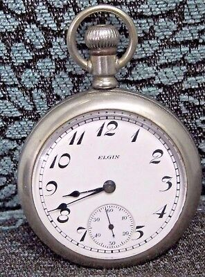 Antique Elgin  54 mm, Silverine Pocket Watch Movement and Case.