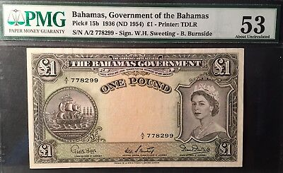 BAHAMAS £1 POUND (1954) Pick# 15b, PMG ABOUT UNC 53