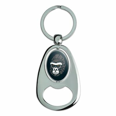 Gorilla Face Chrome Plated Metal Spinning Oval Design Bottle Opener Keychain