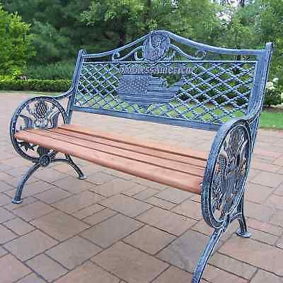 Oakland Living Oakland Living God Bless America Outdoor Bench 6046-AV Antique