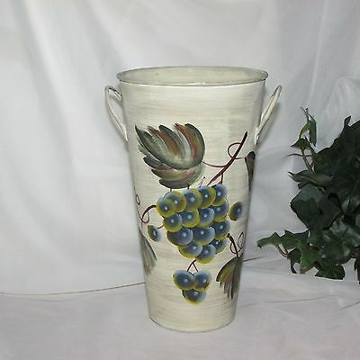 """Tall Metal Vase Hand Painted Grapes 9 3/4"""" Tall Flower Holder Display Kitchen"""