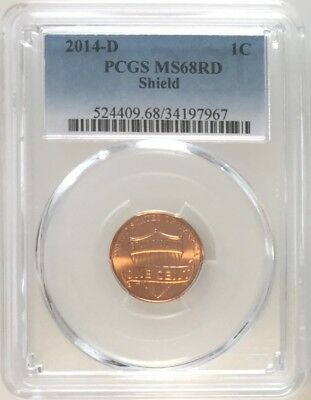2014 D PCGS MS68 RD Lincoln Shield Cent Penny Gem Uncirculated