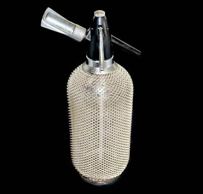 Vintage 1960s 1970s mesh covered soda syphon with bulb holder