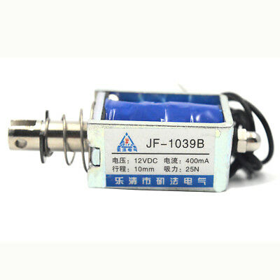 JF-1039B DC12V400mA 10mm Pull Push Open Frame Solenoid Electromagnet 40x26x23mm