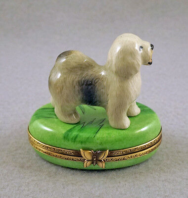 New French Limoges Trinket Box Old English Sheepdog Dog Puppy On Green Grass