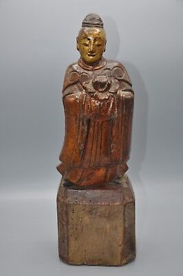 Antique Chinese Gilt and Lacquer Carved Wood Statue  19th Century