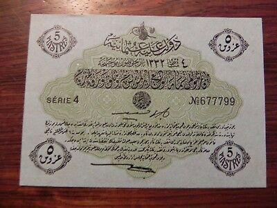 TURKEY 5 PIASTRE  Law of 4 Feburary 1913 AH1332 OTTOMAN  BANKNOTE No.677799