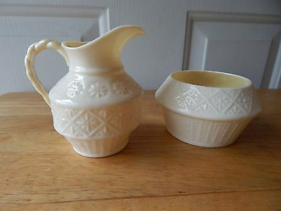 Belleek Sugar and Creamer - Green Markings - Cream with Yellow inside