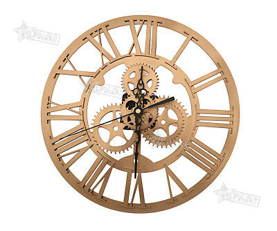 Gold Iron Classic Round Roman Numeral Steampunk Wall Clock Living Room Decor