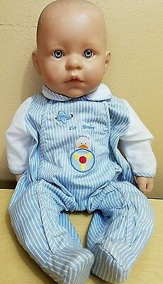 """18"""" Berenguer Baby Cloth Body Life Like Doll Blue Eyes Open Mouth Adorable!"""