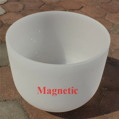 """Magnetic White Frosted A Third-eye Chakra Quartz Crystal Singing Bowl 12"""""""