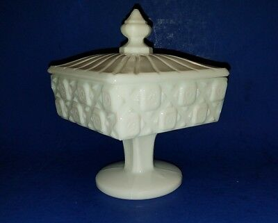 Westmoreland Footed Candy Dish with Lid Old Quilt Pattern Milk Glass 1940's