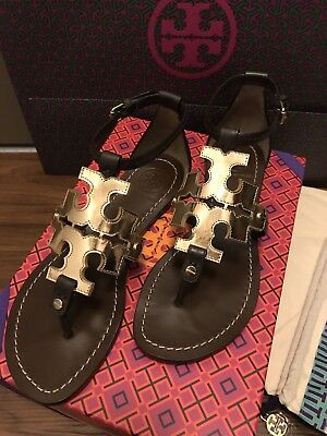 59b1b501628ab3 Brand New In Box Tory Burch Phoebe Flats Sandals - Coconut Brown Spark Gold  8