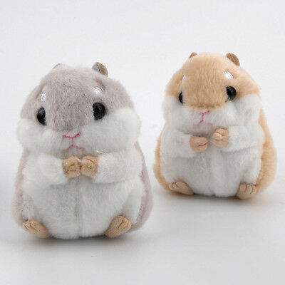 Cute Soft Small Hamster Mouse Plush Fur Fluffy Animals Toy Doll Stuffed Keychain
