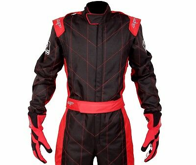LRP Adult Kart Racing Suit Black and Red - Speed Suit CIK/FIA Level 2 Rated