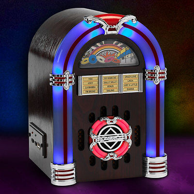 Steepletone USB SUB LED Retro Mini Jukebox Speaker MP3 Playback Function