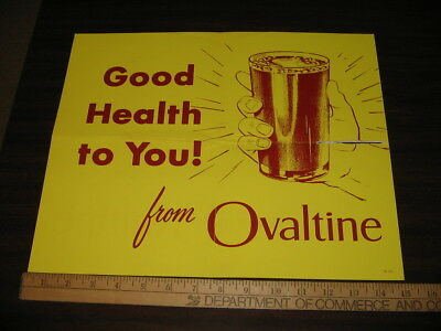 OVALTINE 1950s GOOD HEALTH TO YOU yellow store display poster #2