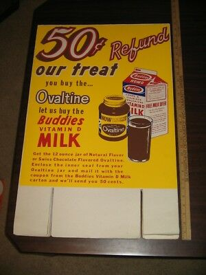 OVALTINE 1960s MILK OFFER 50 cents grocery store display sign BUDDIES