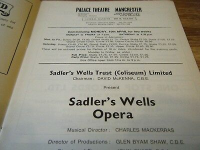 1970s THEATRE  PROGRAMME  - THE SADLERS WELLS OPERA AT PALACE THEATRE MANCHESTER