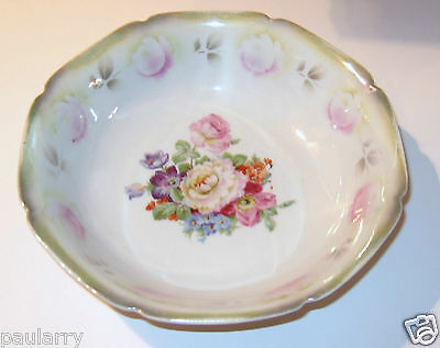 "Antique Floral  8"" Porcelain Bowl Made in Germany"