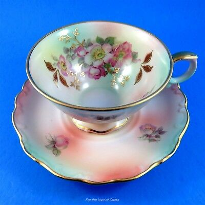 Pretty Florals on Multicolor Background Bavaria Schumann Tea Cup and Saucer Set