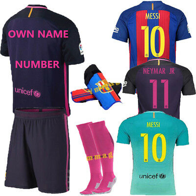 Lot Football Soccer Kits Jersey Short Sleeve Kids Team Suit + Kneepad + Socks