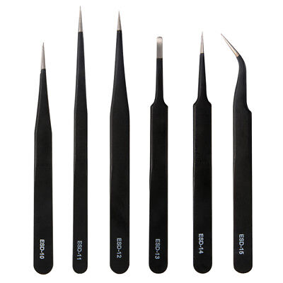 6x Professional ESD Non-Magnetic Stainless Steel Precision Tweezers Set HS1016