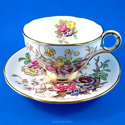 Hand Painted Colorful Floral Bouquet Melba Tea Cup and Saucer Set