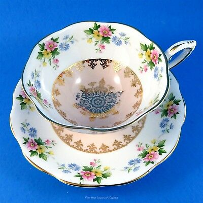 Large Peachy Pink Center with Bright Florals Royal Standard Tea Cup and Saucer
