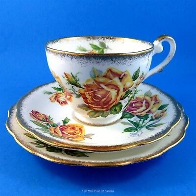 Pretty Yellow Royal Standard Romany Rose Tea Cup, Saucer and Plate Trio Set