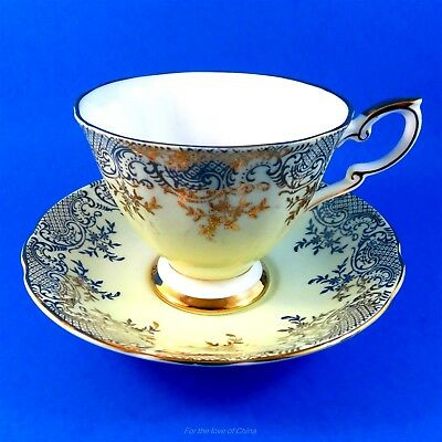 Cute Pale Yellow and Gold Design Royal Standard Tea Cup and Saucer Set