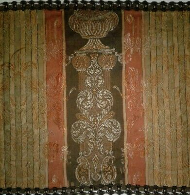 Antique French Victorian Silk Brocade Fabric Mended Table Cloth Runner Ribbon Pa