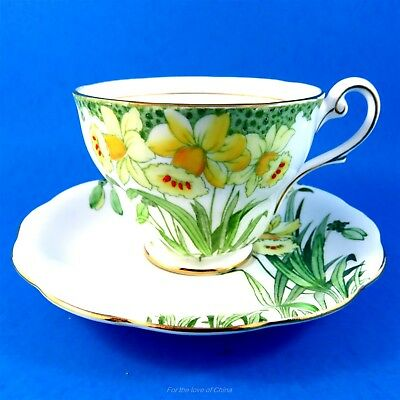 Hand Painted Royal Standard Yellow Daffodils Tea Cup and Saucer Set