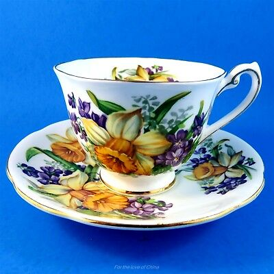 Yellow Daffodils and Violets Royal Standard Woodland Wonder Tea Cup and Saucer