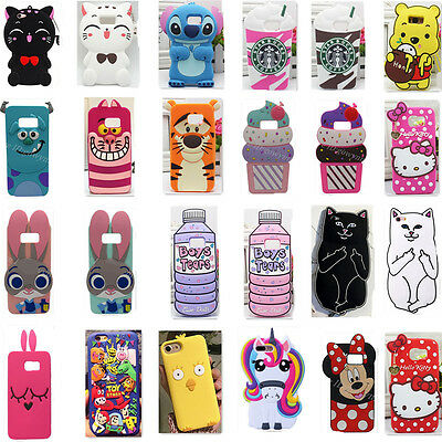 3D Cartoon Soft Silicone Phone Case Cover For Samsung Galaxy S6 S7 Edge S8 Plus