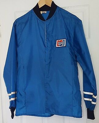 Vintage Size S Pepsi Jacket 100% Nylon Blue Patch Reflective Sleeve Stripes K23