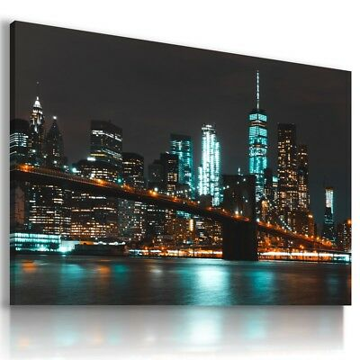 New York City By Night Modern Canvas Wall Art Picture Large Az285 X
