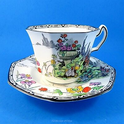 Octagonal Shaped Floral and Scenic Radfords Tea Cup and Saucer Set