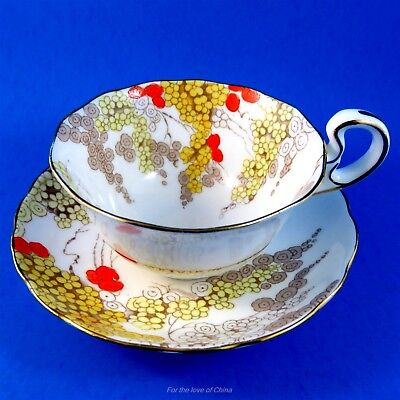 Handpainted Orange and Yellow Flowers Rugeley Radfords Fenton Tea Cup and Saucer