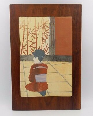 Asian Inspired Hand Painted Clay Tile Mounted On Solid Wood Wall Mountable Decor